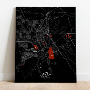 Mapospheres Marrakesh Red dark full page design poster city map