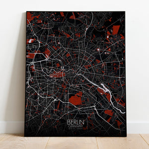Mapospheres Montreal Red dark full page design poster city map