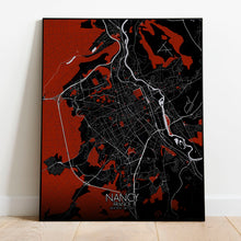 Load image into Gallery viewer, Mapospheres Nancy Red dark full page design poster city map