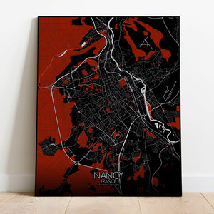 Mapospheres Nancy Red dark full page design poster city map