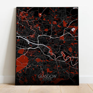 Mapospheres Glasgow Red dark full page design poster city map