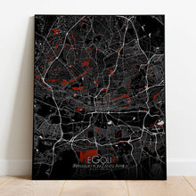 Load image into Gallery viewer, Mapospheres Johannesburg Red dark full page design poster city map