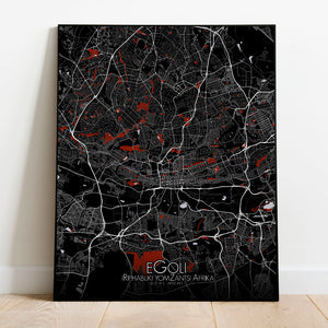Mapospheres Johannesburg Red dark full page design poster city map