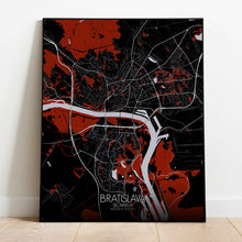 Load image into Gallery viewer, Mapospheres Bratislava Red dark full page design poster city map