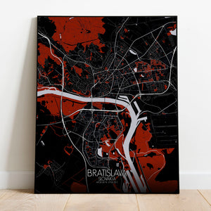 Mapospheres Bratislava Red dark full page design poster city map