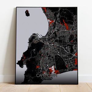 Mapospheres Cape Town Red dark full page design poster city map