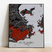 Load image into Gallery viewer, Mapospheres Rio de Janeiro Red dark full page design poster city map