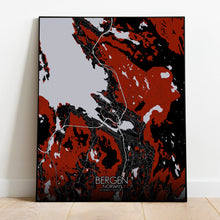 Load image into Gallery viewer, Mapospheres Bergen Red dark full page design poster city map