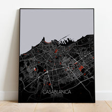 Load image into Gallery viewer, Mapospheres Casablanca Red dark full page design poster city map