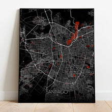 Load image into Gallery viewer, Mapospheres Santiago Red dark full page design poster city map