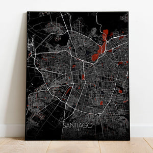 Mapospheres Santiago Red dark full page design poster city map