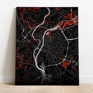Mapospheres Lyon Red dark full page design poster city map