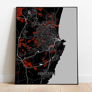 Aberdeen Red dark full page design poster city map