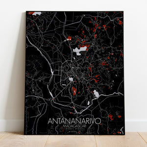 Antananarivo Red dark full page design poster city map