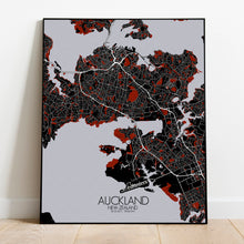 Load image into Gallery viewer, Auckland Red dark full page design poster city map