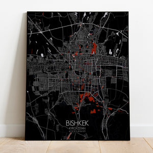 Mapospheres Bishkek Red Dark full page design poster city map