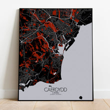 Load image into Gallery viewer, Cardiff Red dark full page design poster city map