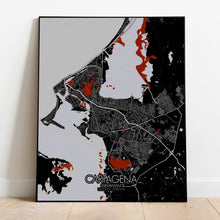 Load image into Gallery viewer, Cartagena Red dark full page design poster city map