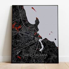Load image into Gallery viewer, Dar Es Salaam Red dark full page design poster city map