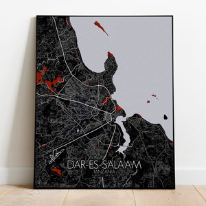 Dar Es Salaam Red dark full page design poster city map