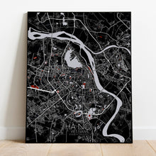 Load image into Gallery viewer, Hanoi Red dark full page design poster city map