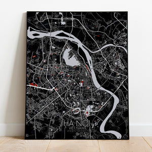 Hanoi Red dark full page design poster city map