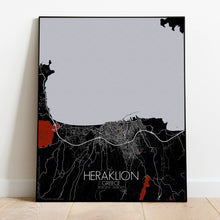Load image into Gallery viewer, Heraklion Red dark full page design poster city map
