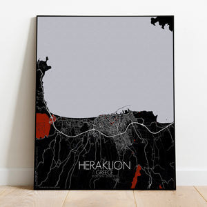 Heraklion Red dark full page design poster city map