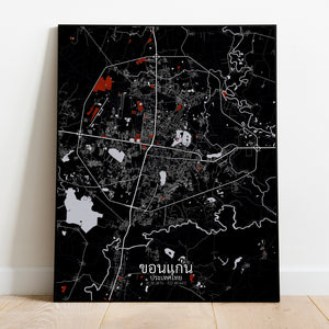 Khonkaen Red dark full page design poster city map