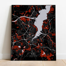 Load image into Gallery viewer, Kiel Red dark full page design poster city map