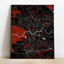 Load image into Gallery viewer, Krakow Red dark full page design poster city map