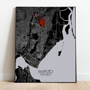 Maputo Red dark full page design poster city map