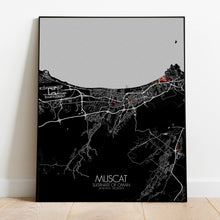 Load image into Gallery viewer, Muscat Red dark full page design poster city map