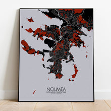Load image into Gallery viewer, Mapospheres Noumea Red dark full page design poster city map