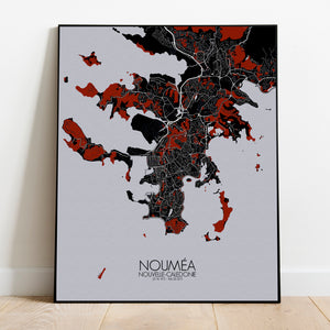 Mapospheres Noumea Red dark full page design poster city map