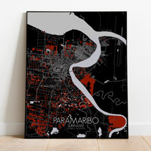 Load image into Gallery viewer, Paramaribo Red dark full page design poster city map