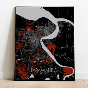 Paramaribo Red dark full page design poster city map