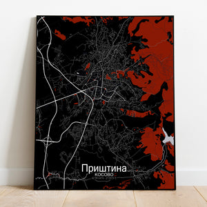 Pristina Red dark full page design poster city map