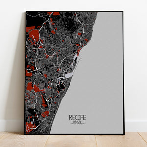 Recife Red dark full page design poster city map