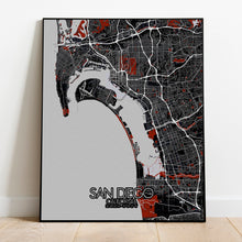 Load image into Gallery viewer, Mapospheres San Diego Red dark full page design poster city map