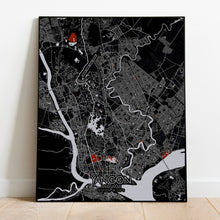 Load image into Gallery viewer, Aberdeen Red dark full page design poster city map