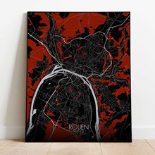 Load image into Gallery viewer, Mapospheres Rouen Red dark full page design poster city map