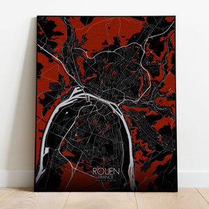 Mapospheres Rouen Red dark full page design poster city map