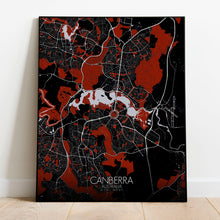 Load image into Gallery viewer, Mapospheres Canberra Red dark full page design poster city map