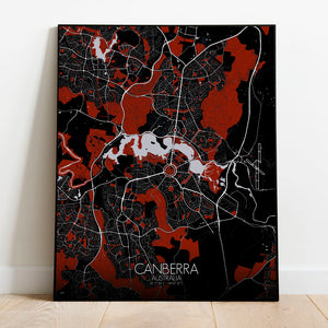 Mapospheres Canberra Red dark full page design poster city map