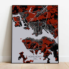 Load image into Gallery viewer, Mapospheres Hong Kong Red dark full page design poster city map