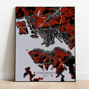 Mapospheres Hong Kong Red dark full page design poster city map