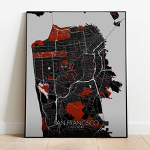 Load image into Gallery viewer, Mapospheres San Francisco Red dark full page design poster city map