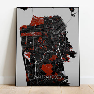 Mapospheres San Francisco Red dark full page design poster city map