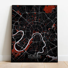 Load image into Gallery viewer, Mapospheres Moscow Red dark full page design poster city map